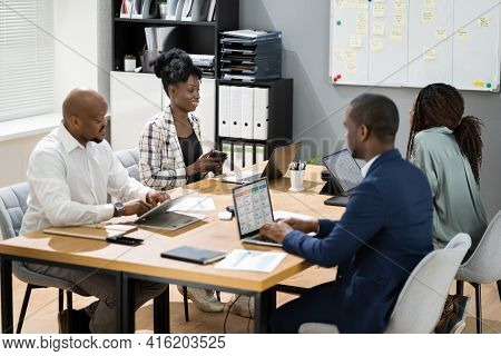 African Group Corporate Business Meeting In Conference Room