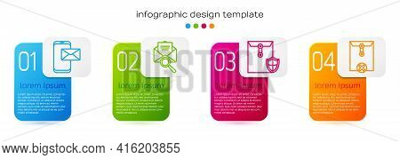 Set Line Mobile And Envelope, Envelope With Magnifying Glass, Envelope With Shield And Delete Envelo