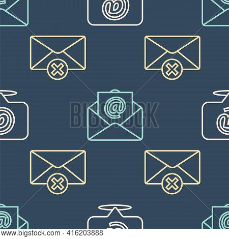 Set Line Mail And E-mail On Speech Bubble, Delete Envelope And Mail And E-mail On Seamless Pattern.