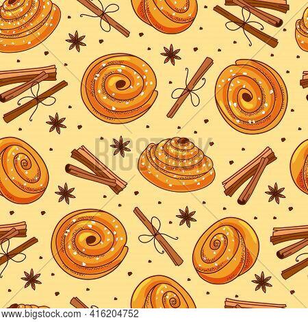 Cinnamon Buns And Cinnamon Sticks Seamless Pattern. Cartoon Vector Illustration.