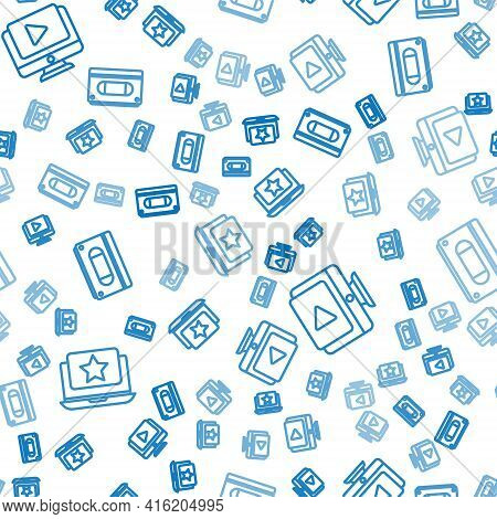 Set Line Laptop With Star, Online Play Video And Vhs Video Cassette Tape On Seamless Pattern. Vector