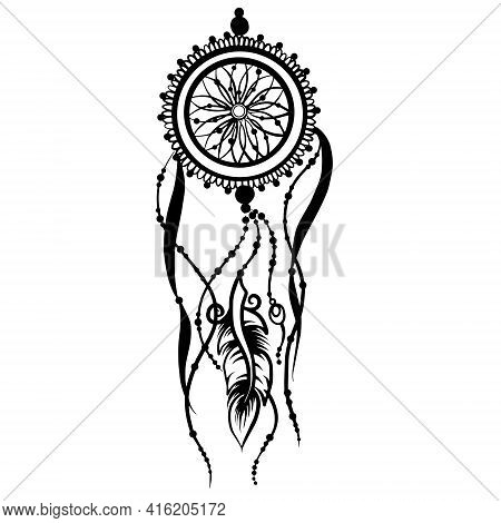 Vector Line Art Of A Dreamcatcher With Feather And Beads