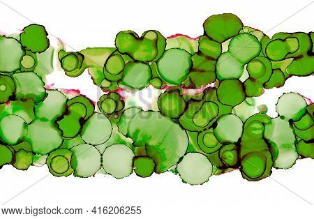 Green Stains Texture Background Isolated On White. Colorful Painting For Graphic Design. Alcohol Ink