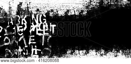 Abstract Grunge Futuristic Lettering Background.  Drawing On Old Grungy Surface. Dirty Scratch Wall.