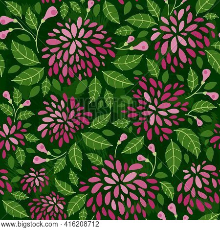 Spring Flowers, Garden -  Seamless Pattern In A Flat Style. Spring Mood. Vector Background For Fabri