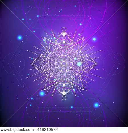 Vector Illustration Of Sacred Geometry Symbol On Abstract Background. Mystic Sign Drawn In Lines. Im