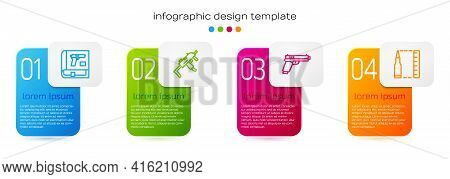 Set Line Book With Pistol Or Gun, Mp9i Submachine, Pistol And Bullet. Business Infographic Template.