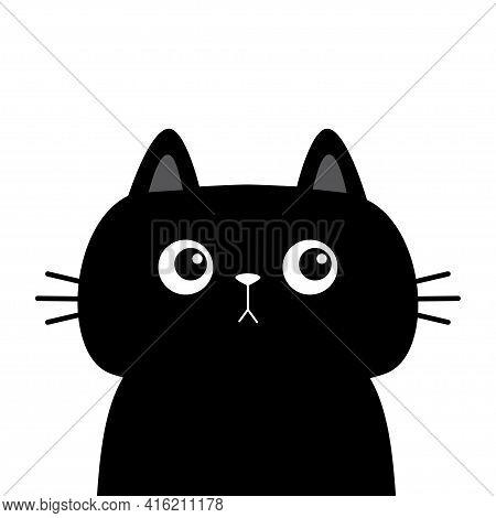 Black Cat Kitten Kitty Silhouette Icon. Cute Kawaii Cartoon Character. Sad Face. Pink Cheeks. Happy