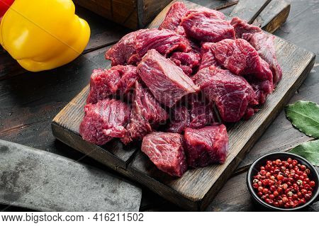 Irish Raw Beef Stew Recipe Ingredients Set With Sweet Bell Pepper, On Old Dark  Wooden Table