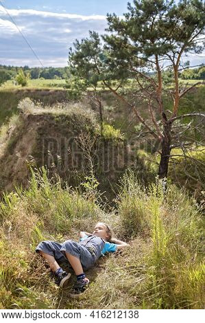 Happy Girl Relaxing In Nature, Digital Detox, Escape And Getaway, Calm Summertime, Lifestyle Outdoor