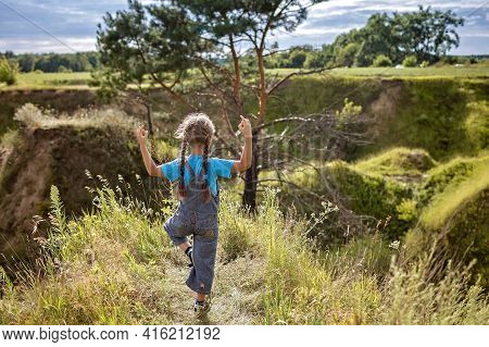 Happy Girl Looking At Beautiful Nature Landscape And Meditating, Rest And Digital Detox, Escape And