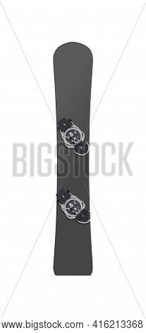 Mockup Of Carving Snowboard With Bindings Isolated On White Background