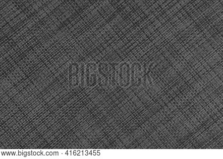Textured Gray Black Braided Plastic Material With A Diagonal Geometric Weave