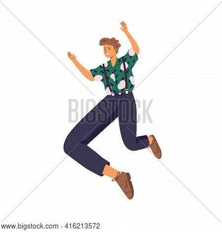 Happy Young Energetic Man Jumping Up For Fun And Joy. Active Excited Smiling Guy Feeling Freedom. Co