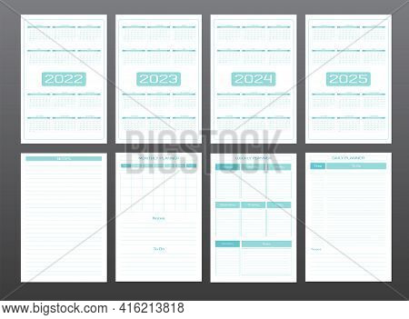 2022 2023 2024 2025 Calendar Daily Weekly Monthly Personal Planner Diary Template In Strict Minimali