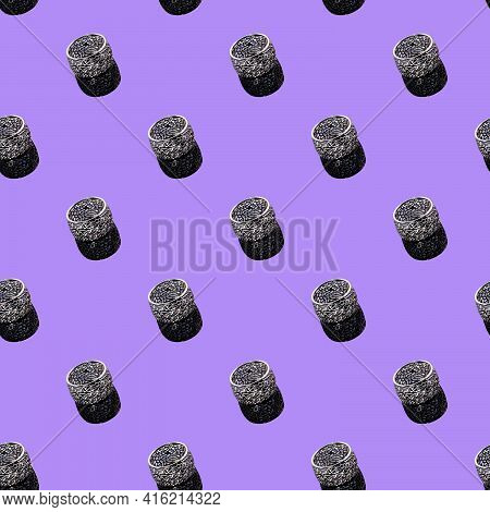 Bijouterie And Jewelry On A Dark Background. Seamless Pattern. Rings, Bracelets And Pendants. Copy S