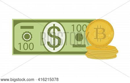 Flat Modern Design Bitcoin Investment. Dollar And Bitcoins Isolated On White Background. Vector Fina