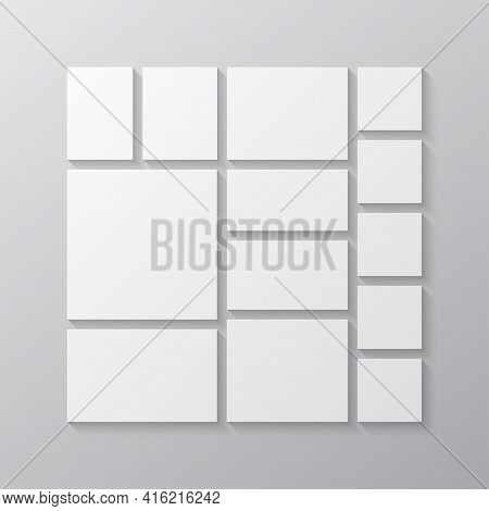 Vector Empty Collage Board Thirteen Images, Photo