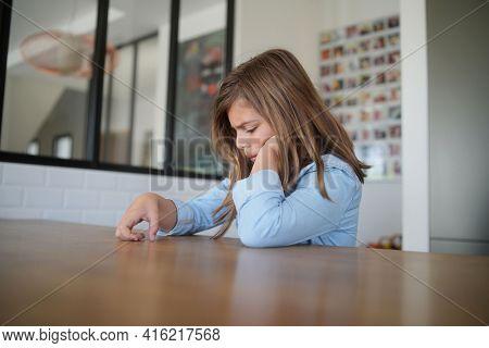 10 year old girl sad at home
