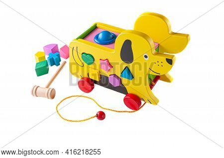 A Dog Made Of Wood On A Rope. Sorter And Hammer Game For Children. Educational Toy Montessori 3 In 1