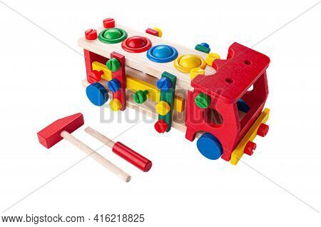 Truck Made Of Wood On A Rope. Constructor Game And Hammer With A Hammer For Children. Educational To