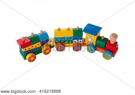 Train With Two Carriages Made Of Wood On A Rope. Sorter Game For Children. Educational Toy Montessor