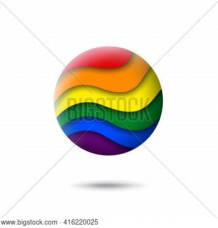 Lgbt Concept - Rainbow Pride Flag Lgbtq Icon In The Shape Of Circle. Abstract Waving Lgbtq Flag. Pap