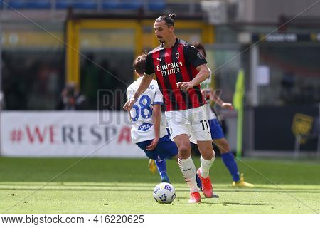 Milano, Italy. 03th April 2021 . Zlatan Ibrahimovic Of Ac Milan  During The Serie A Match Between Ac