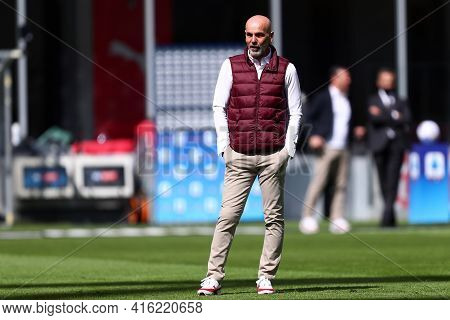 Milano, Italy. 03th April 2021 . Stefano Pioli, Head Coach  Of Ac Milan  During The Serie A Match Be