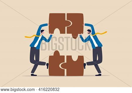 Partnership And Teamwork, Business Agreement Deal Or Working Team Collaboration Concept, Smart Peopl