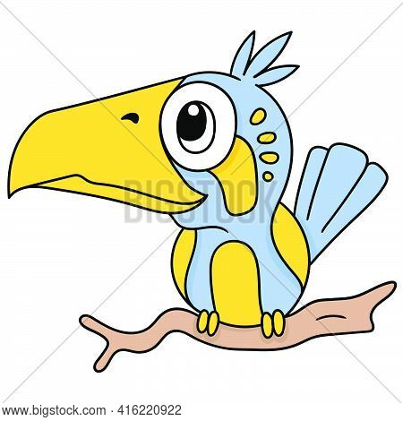 A Rare Parrot Perched On A Branch, Doodle Draw Kawaii. Vector Illustration Art