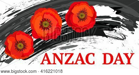 Remembrance Day Lest We Forget. Red Poppy Flower International Symbol Of Peace On White Background.