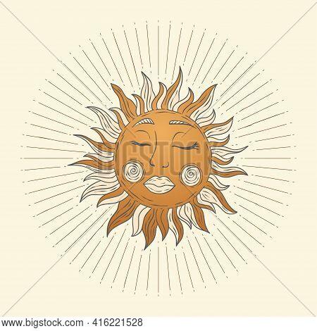 Celestial Sun Star Vector. Sacred Dreaming Astrology Boho Esoteric Art.