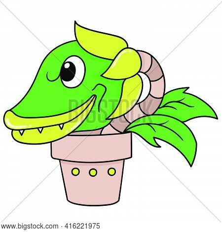 The Evil Potted Plant Is Ready To Eat Its Flesh, Character Cute Doodle Draw. Vector Illustration