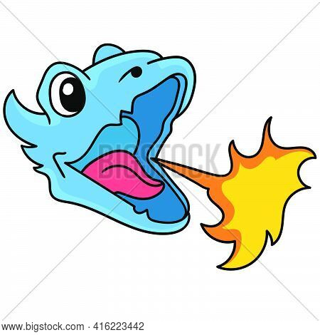 Blue Dragon Head Emoticon Spitting Out Hot Flames, Doodle Draw Kawaii. Vector Illustration Art
