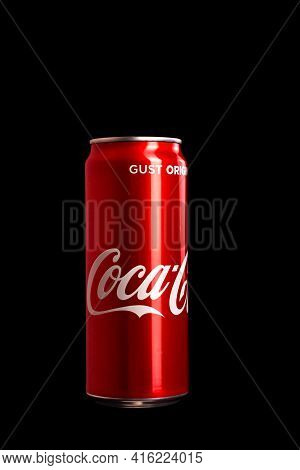 Editorial Photo Of Classic Coca-cola Can On Black Background. Studio Shot In Bucharest, Romania, 202