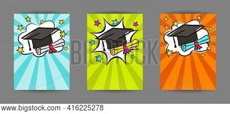 Bright Pop Art Banner For Graduation With Cap, Scroll And Stars. Cartoon Text Frame On A Ray Backgro