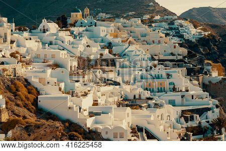 Architecture Oia village on Santorini island, Greece