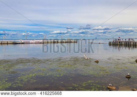 Saint Petersburg, Russia - June 25, 2019: Hydrofoil Boats Moored At The Open Coast Of Gulf Of Finlan