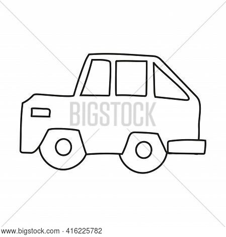 Hand Drawn Doodle Jeep Car For Coloring Children Book. Simple Line, 2 - 4 Age Group. Big Mashines, L