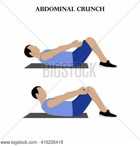 Abdominal Crunch Exercise Strength Workout Vector Illustration