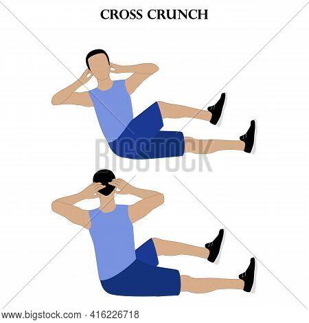 Cross Crunch Exercise Workout Vector Illustration On The White Background. Vector Illustration