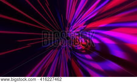 Optical 3d Render Tunnel With Dynamic Spatial Lines And Futuristic Distortion. Jump Into Hyperspace