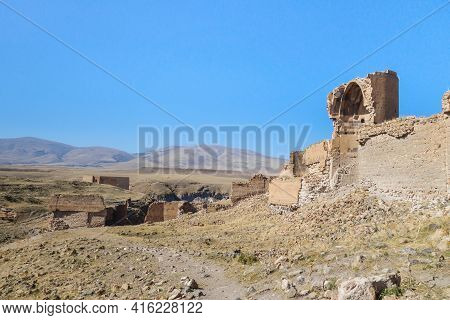 Ruins Of Walls & Buildings Of Medieval City Ani, Near Kars, Turkey. City Founded In 5 Century By Arm