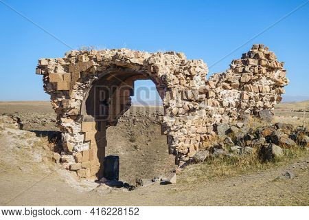 Remains Of Gates In Ancient Medieval City Ani, Near Kars, Turkey. Gate Located Near Edge Of Rock. Th