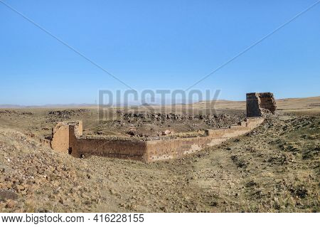 Ruins Of North Fortification Wall & Tower In Medieval City Ani, Near Kars, Turkey. City Was Founded