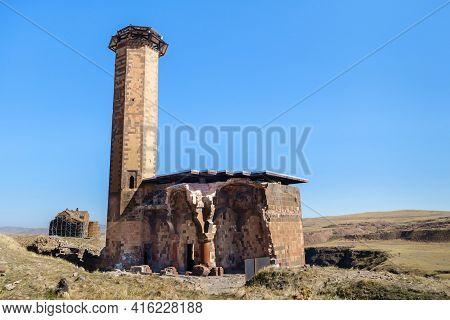 Seljuk Mosque Of Manuchihr & Its Minaret In Medieval City Ani, Near Kars, Turkey. It Has Untypical C