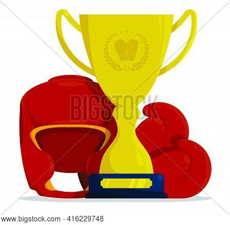 Prize Sports Cup With Boxing Gloves And Protective Boxing Helmet For Participation In Competitions.