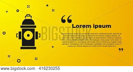 Black Fire Hydrant Icon Isolated On Yellow Background. Vector