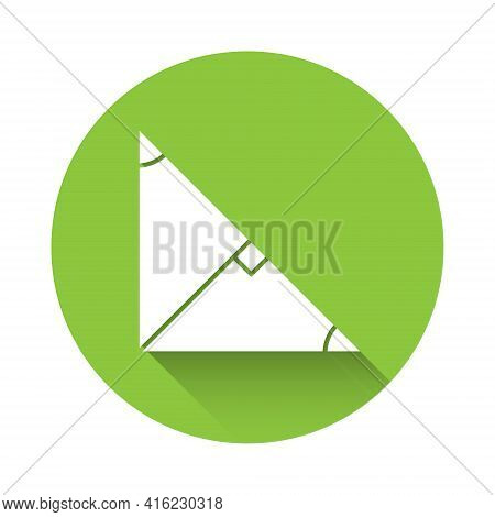 White Angle Bisector Of A Triangle Icon Isolated With Long Shadow. Green Circle Button. Vector